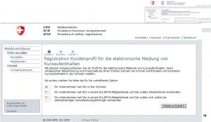 meldeverfahren povoleni Svycarsko